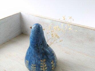 植物模様の青い鳥・一輪挿し(藍色シリーズ廃盤予定です。詳しくはプロフィール欄にて)の画像