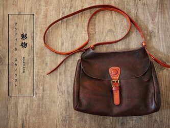 【受注製作】本革の収納たっぷりポシェットバッグ ストラップ ポケット付 かばん PB8839の画像