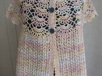 ネックから編んだ半袖カーディガンの画像