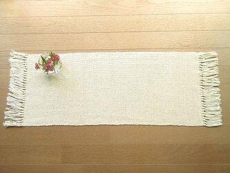 麻糸と木綿糸の手織りテーブルセンターの画像