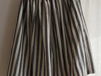 Sale!7800→5800 送料込 綿麻ギャザースカート ネイビーストライプの画像