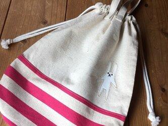 体操服袋ピンクボーダー※持ち手有り(送料無料)の画像