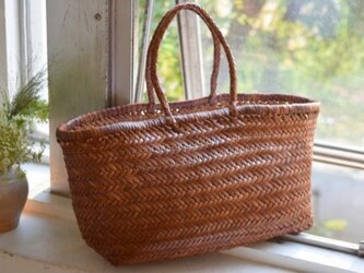 【受注製作】新作・手編み牛革ショルダトートバッグしっかりとした編み込み FB245の画像