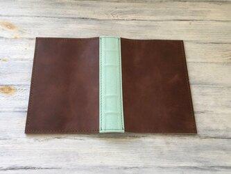 【オーダー品】洋古書風のブック・ブックカバー/ブラウン×リーフグリーンの画像
