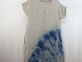 リネン二重ガーゼ藍染絞りワンピースの画像