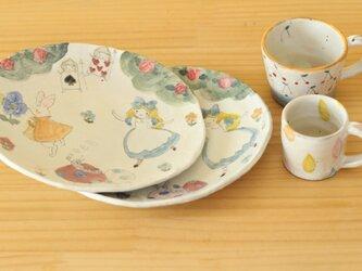 S様オーダー品粉引きアリスのオーバル皿2点とカップ2点。の画像