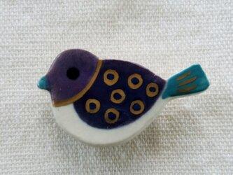 小鳥ブローチ(水玉模様)の画像