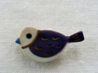 小鳥ブローチ(波模様)の画像