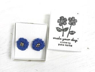 flower ピアス C  - コバルトブルー × スモーキーゴールドの画像