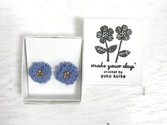flower ピアス C  - ラベンダーブルー × スモーキーゴールドの画像