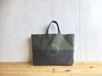 【受注製作】くったり秋色鞄 横長 丸ステッチの画像