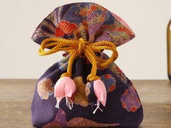 【贈答用】幸せ巾着 FUGURO プレミアム<菊文・絹>の画像