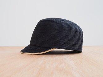 Raffia Cap - black × naturalの画像