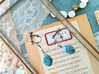 ターコイズに恋した vintageガラスビーズと、日本の古いガラスパール イヤリングの画像