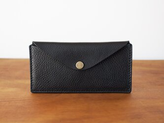 イタリア製牛革のスリムな長財布 2 / ブラック※受注製作の画像
