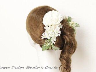 清楚な白い薔薇とレースフラワーのヘッドドレス(9点セット) ウェディング 白 ホワイト バラ 紫陽花 清楚 結婚式の画像