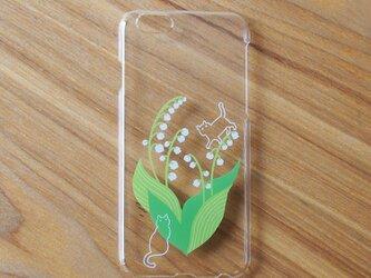 iPhone系ハードクリアケース【鈴蘭と猫】の画像