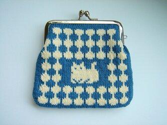 〈受注生産〉 編み込みのがま口 水玉猫 紺の画像
