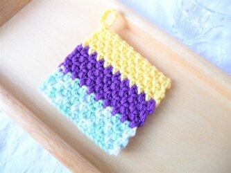 ミントブルーベリーカスタード  かぎ針編みのコースター (10)の画像