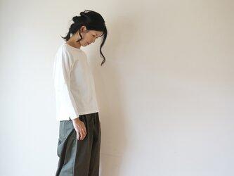 Cotton drop shoulder cut-sew LADY'S WHITEの画像