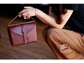 2way leather box bag / 2way レザーボックスバッグ #brownの画像