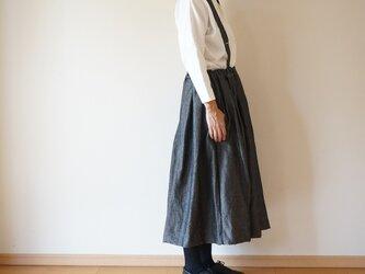 Wool linen dungaree tuck skirt LADY'Sの画像
