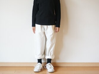 Cotton chino stretch tuck pants kids 2sizeの画像