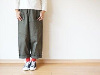 Cotton chino stretch tuck pants LADY'Sの画像