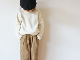 Stretch corduroy tuck pants kids 1,2sizeの画像