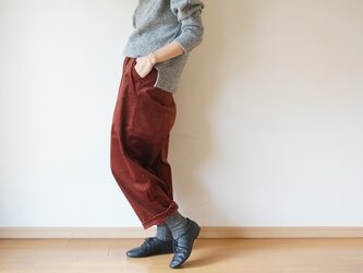 Stretch corduroy tuck pants  LADY'S BROWNの画像