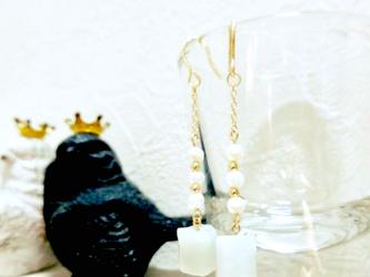 ビルマジェイドと淡水パールのピアス(14kgf)の画像