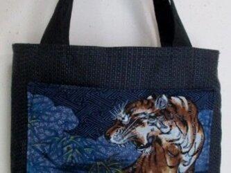 送料無料 藍大島紬と長襦袢で作った手提げ袋 3679の画像