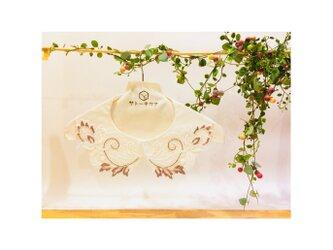 つけ襟☆白シルクシャンタン×刺繍レース(ピンクグレーマーブル)【送料無料】の画像