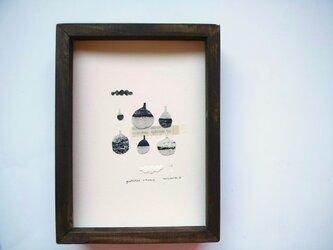銅版画コラージュ【小さな壺ⅰ】額付の画像