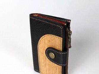 木と革のマルチなキーケース ---小銭入、カードポケット付 [ブラック]の画像