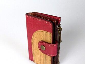 木と革のマルチなキーケース ---小銭入、カードポケット付 [レッド]の画像