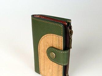 木と革のマルチなキーケース ---小銭入、カードポケット付 [グリーン]の画像
