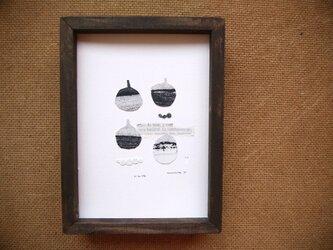 銅版画コラージュ【小さな壺ⅱ】額付の画像