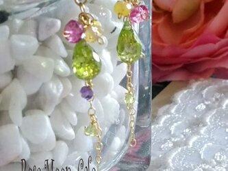 宝石質ペリドットブリオレットの爽やかなロングピアス k1gfの画像