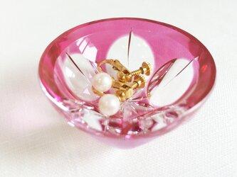 切子アクセサリートレイ 桃花の画像