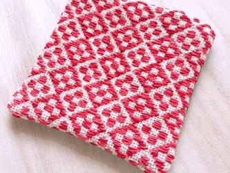 こぎん刺し コースター〔うろこ・赤×ピンク〕の画像