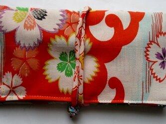送料無料 花柄の着物で作った和風財布・ポーチ 3682の画像