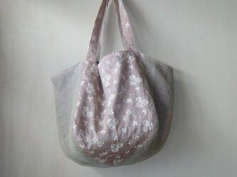 ◆ SALE ◆デイリーバック くったりトート メッシュリネン&刺繍2(オールドローズ)の画像