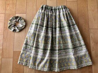 【sale】パイナップル繊維入りギャザースカート(グレーロング)の画像