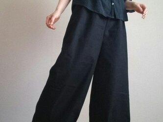 裾しぼりワイドパンツゆったり楽に上品にシンプルウエストゴムの画像