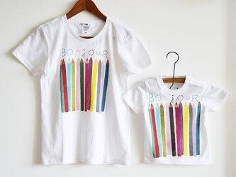 """親子お揃いTシャツセット""""色えんぴつ"""" Tシャツ ベーシックタイプ 親子おそろいコーデ ホワイトの画像"""