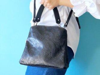 レミー 2WAYバッグ ショルダー&ハンドバッグ 本革 ペイズリー ブラックの画像