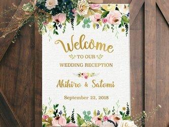 Pink & Gold ウェルカムボード 結婚式の画像