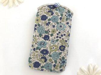 スマホケース 花柄 ブルーの画像