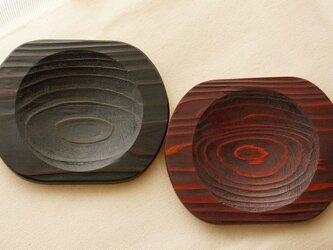黒と朱漆のペア菓子皿・コースターの画像